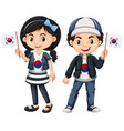 south korean boy and girl with flags vector image