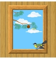 Wood window with titmouse vector image