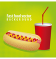 hot dog combo with soda on a green background vector image