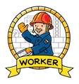 Funny worker Emblem Profession ABC series vector image