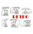 Vintage sketched rotary dial telephones symbols vector image vector image