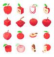 apple logo icons set isometric style vector image