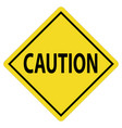 caution yellow icon on white background caution vector image