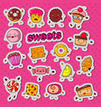 cute sweet food candy characters doodle vector image
