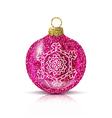 isolated pink christmas ball with silver snowflake vector image