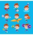 Kid Sportsman Doing Different Sport Types Set Of vector image