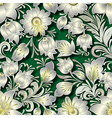 seamless silver floral ornament on green vector image