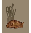 sleeping striped cat and a bowl with stationery vector image