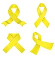 Yellow awareness ribbons vector image