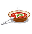 borscht with sour cream vector image