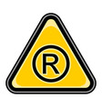registered trademark sign triangular sticker vector image