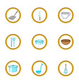 Kitchenware icons set cartoon style vector image