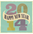 Happy New Year 2014 vintage style greeting card vector image