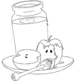 Rosh Hashanah Honey Jar and Apples Coloring Page vector image