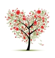Floral love tree for your design heart shape vector image