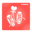 valentine day icons for sneaker shoes lovers desig vector image