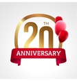 Celebrating 20th years anniversary golden label vector image