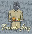 gorilla with burger and french vector image