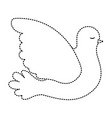 pigeon peace side view on dotted silhouette vector image