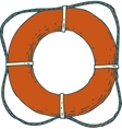 Red Lifebuoy with Rope vector image