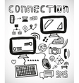 Set of hand drawn connection doodles vector image