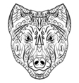 Sketch black and white dog head Zen-tangle vector image