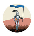 medieval warrior round icon vector image
