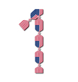 Number 1 made of USA flags in form of candies vector image