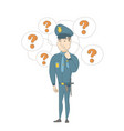 young caucasian policeman thinking vector image