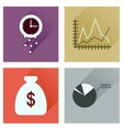 Concept of flat icons with long shadow economy vector image