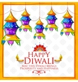 Hanging kandil on happy Diwali Holiday background vector image vector image