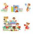 kids reading books and enjoying literature set of vector image