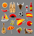 spain sticker icons set spanish traditional vector image