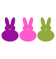 Cute beautiful bunny set isolated on white vector image vector image