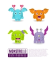 Monsters set Cute cartoon monsters vector image