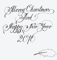 Merry christmas and Happy New Year 2016 Hand-writt vector image