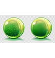 Two big green glass spheres vector image
