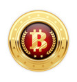 Bitcoin symbol on gold medal - cryptocurrency icon vector image