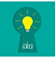 Keyhole and idea light bulb inside Flat design vector image