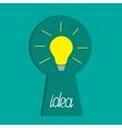 Keyhole and idea light bulb inside Flat design vector image