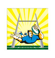 Rugby Player Scoring Try Retro vector image