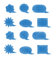 set of blank blue shaded bubbles of various shapes vector image