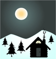 winter night in cabin vector image