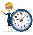 woman holding clock vector image
