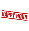 square grunge red happy hour stamp vector image