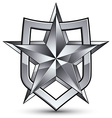 Branded gray geometric symbol stylized silver star vector image