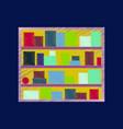 flat shading style icon bookshelf vector image