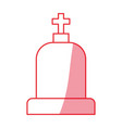 silhouette tombstone with cross and religion vector image