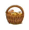 wicker basket full of mushrooms orange cap boletus vector image