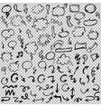 black hand drawn arrows and speech bubbles set vector image vector image